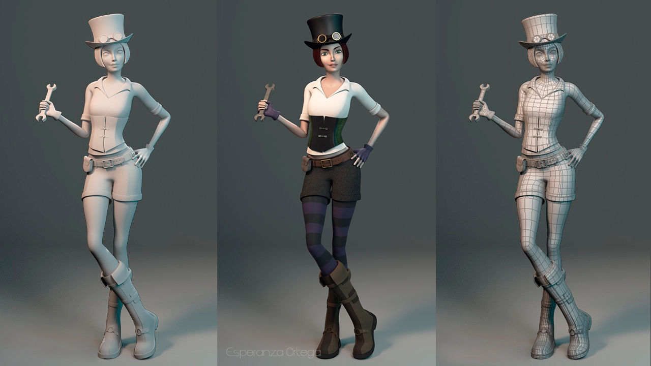 3D character - Steampunk girl