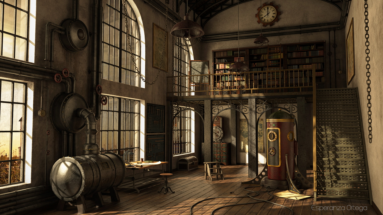 3D environment - Steampunk studio