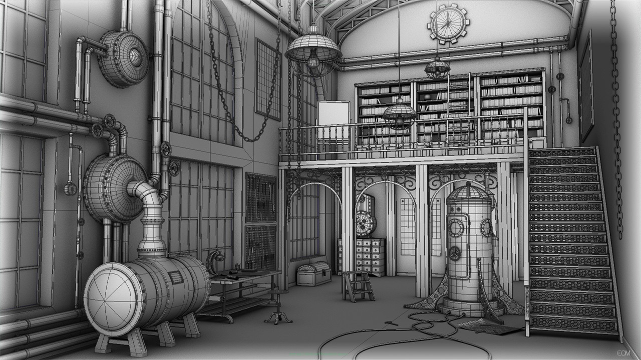 3D environment - Wireframe details of steampunk studio