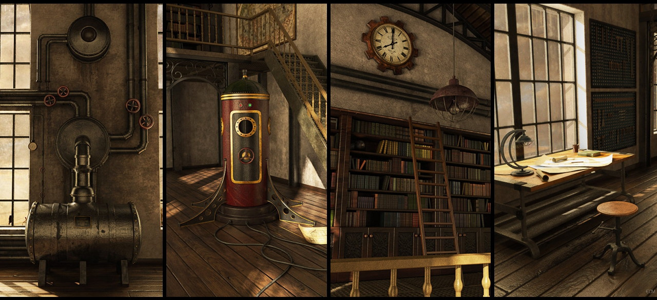 Views - 3D steampunk studio